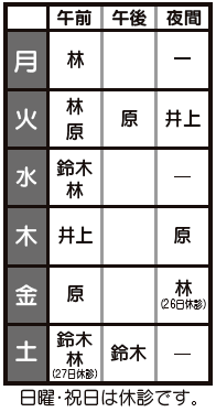 7月診療体制表