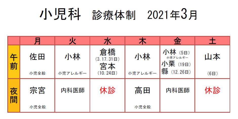 生協もりやま診療所 2021年3月 小児科