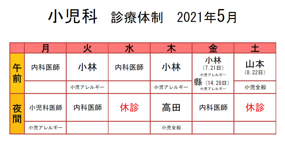 生協もりやま診療所 2021年5月 小児科