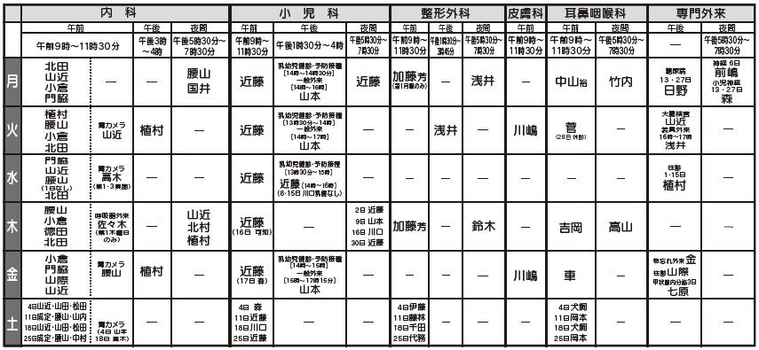 北病院9月診療体制表
