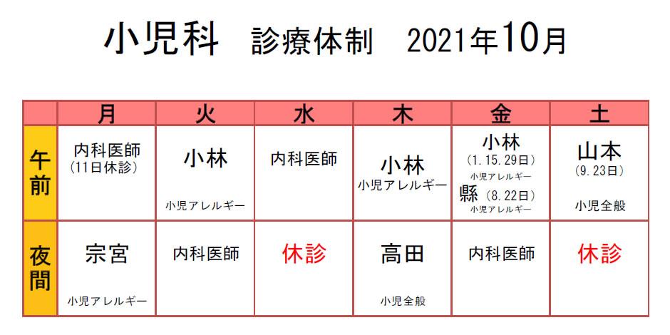 生協もりやま診療所 2021年10月 小児科